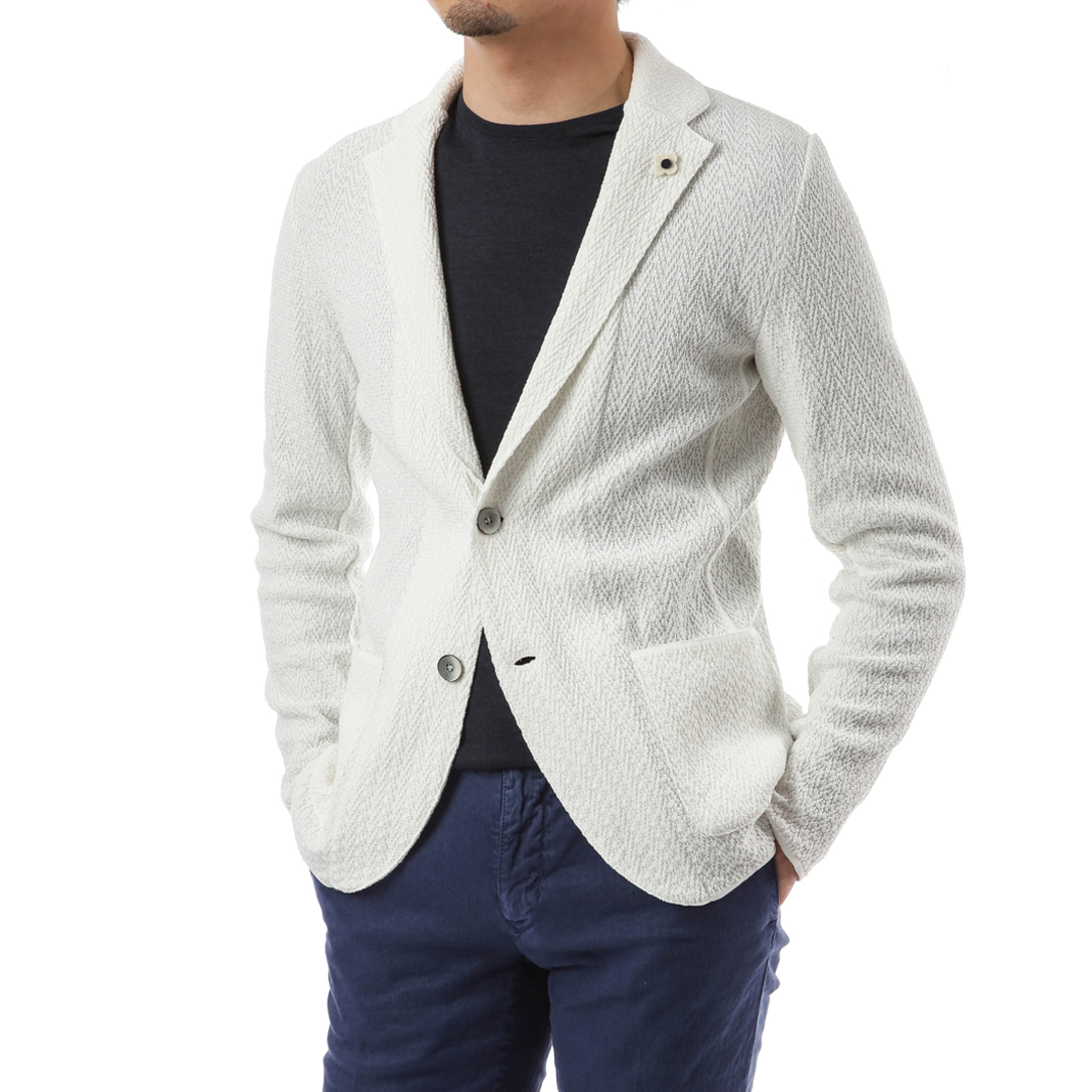 White Single Diamond Knit Jacket