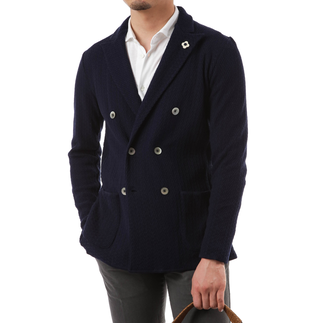 Navy Double Lumping Knit Jacket