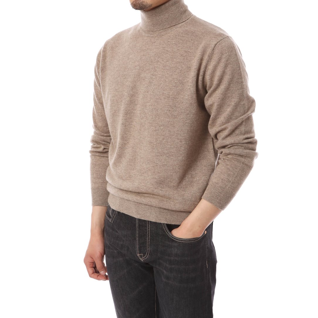 Cashmere Blended Turtleneck Knit Oatmeal