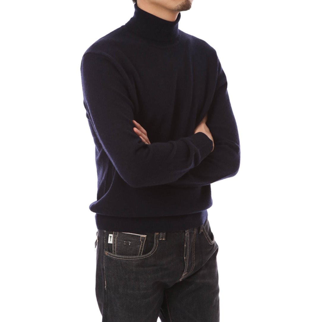 Cashmere Blended Turtleneck Knit Navy