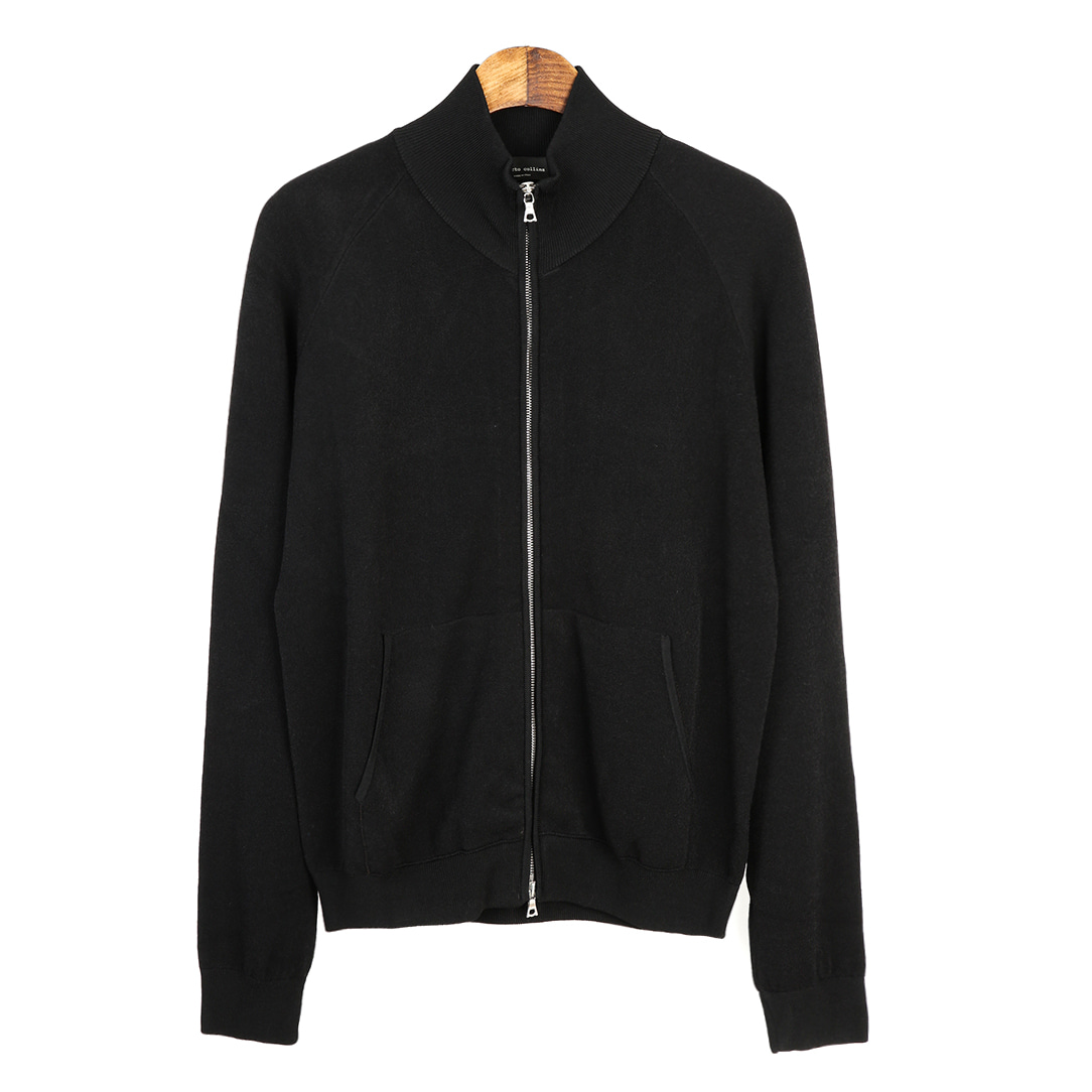 Coloration Knit Zip-up Black Jacket