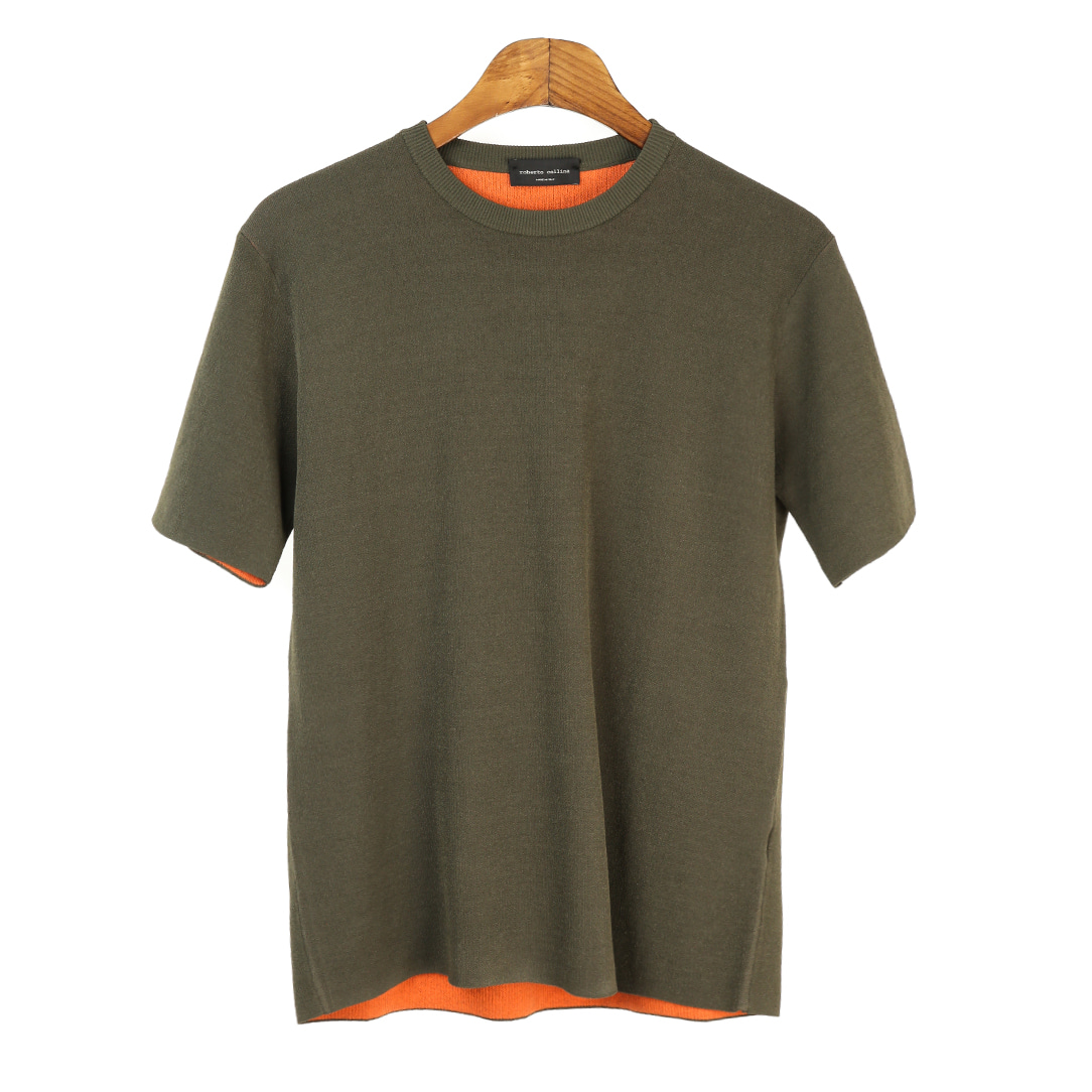 Coloration Short Sleeves Khaki Knit