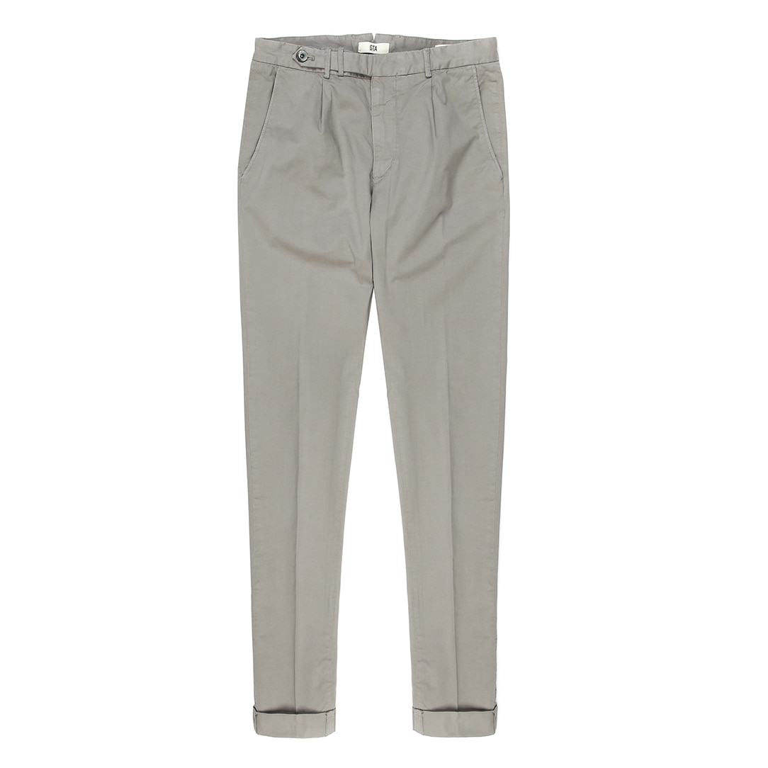 BYRON. One Pleats Belted Cotton Pants (Light Grey)