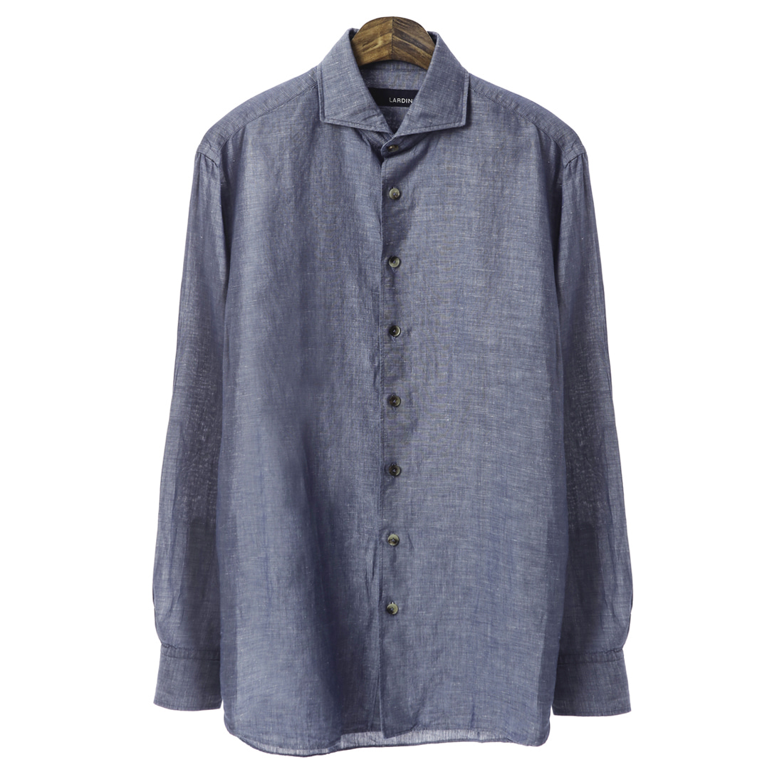 Wide Collar Denim Blue Ice Shirts