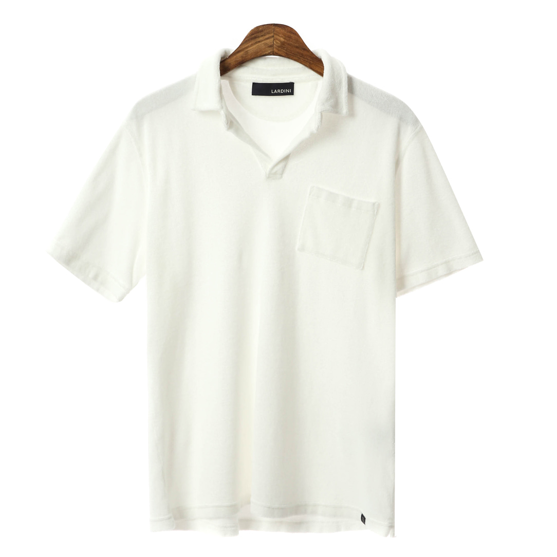 Open Collar Out-Pocket Terry T-shirts(White)