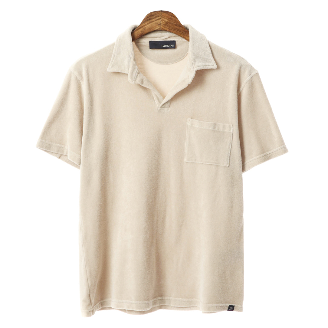 Open Collar Out-Pocket Terry T-shirts(Beige)