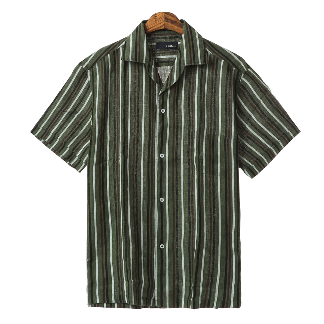 Summer Special Green Stripe Linen Shirts