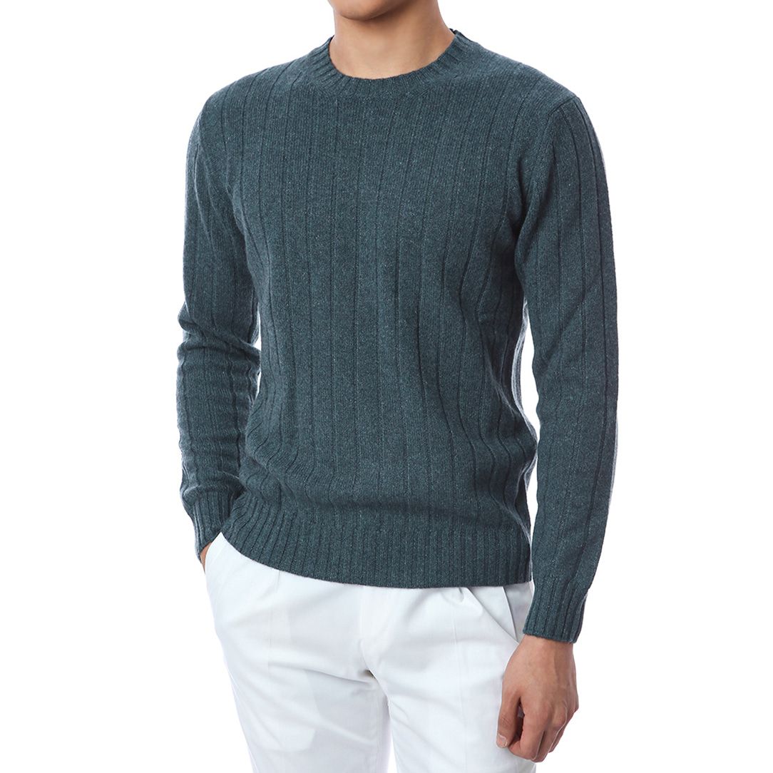 100% Pure Cashmere Lining Round Knit (Dark Green)
