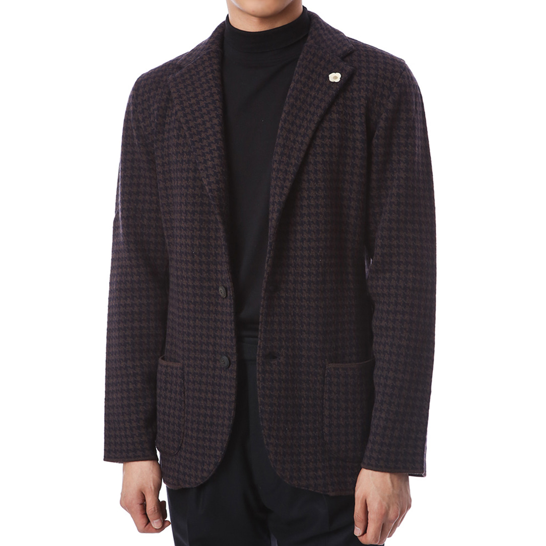Houndstooth Trim Single Knit Jacket (Brownnavy)