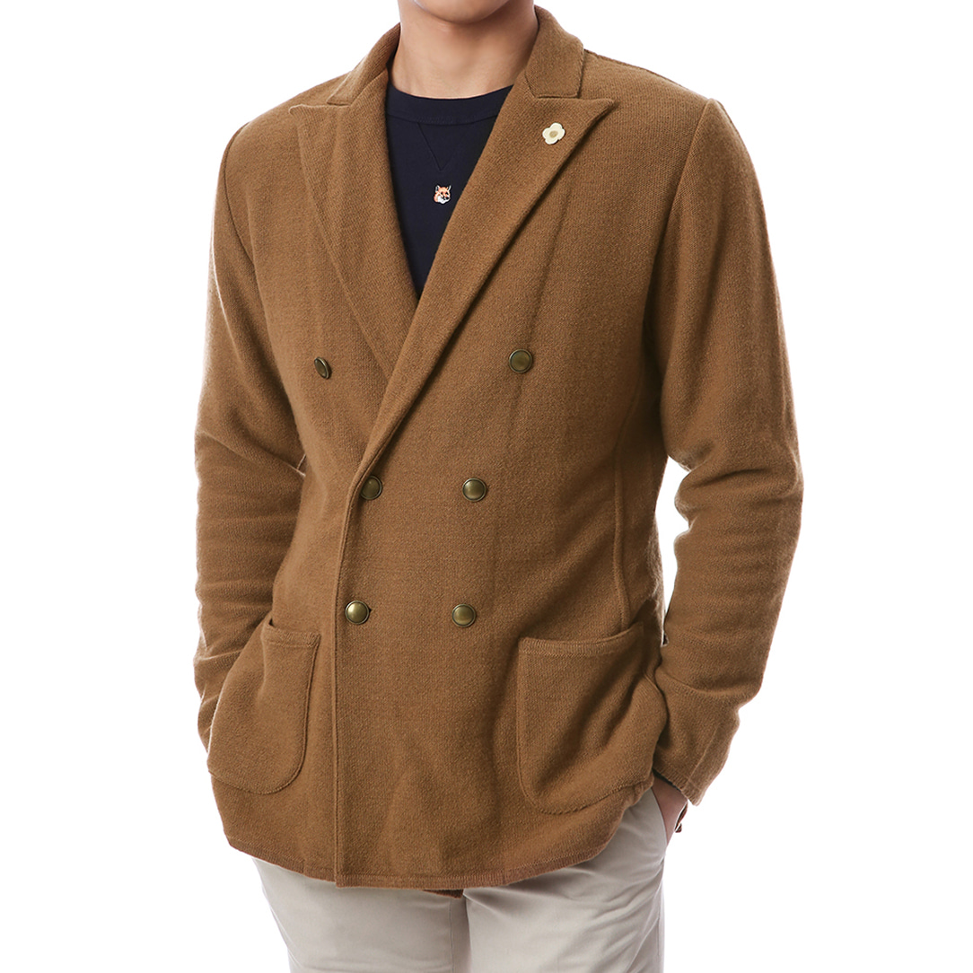 Gold Button Double Wool Knit Jacket (Brown)